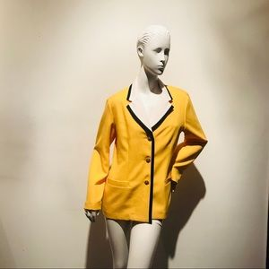 Vintage 90s Mac n Cheese Yellow Blazer Blk Trim 8